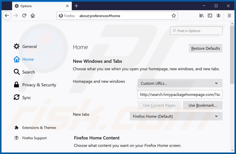 Removing search.hmypackagehomepage.com from Mozilla Firefox homepage