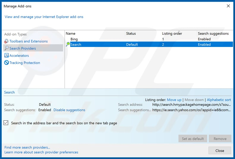 Removing search.hmypackagehomepage.com from Internet Explorer default search engine