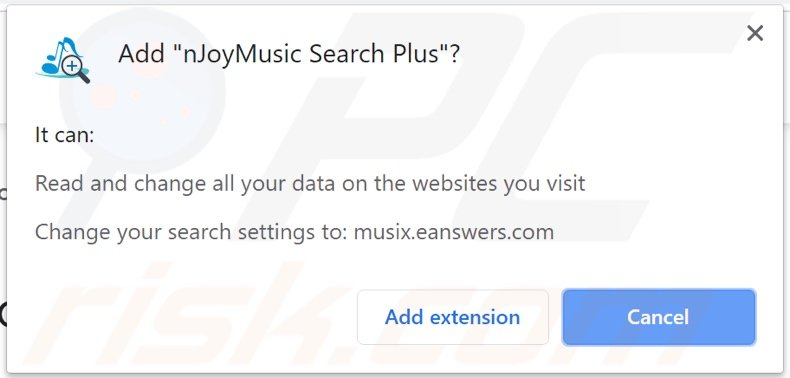 nJoyMusic Search Plus browser hijacker asking for permissions