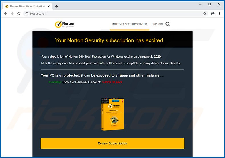 Norton Subscription Has Expired Today pop-up scam