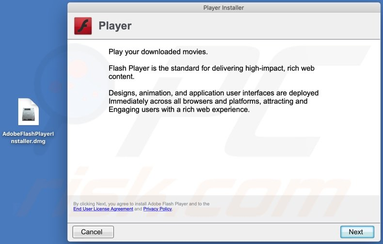 reliableultimatesafevideoplayers[.]info scam fake flash update installer