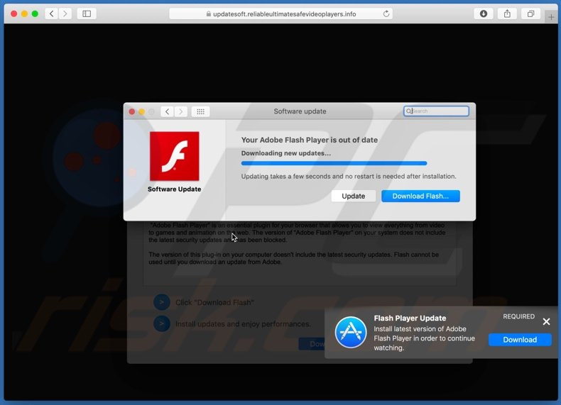 reliableultimatesafevideoplayers[.]info scam overlaying pop-up