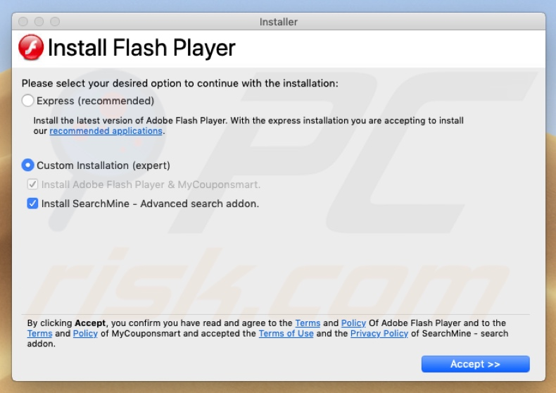 There is a new Codec Pack version scam fake flash update installer