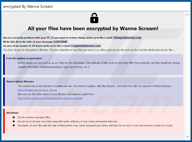 WannaScream decrypt instructions (WannaScream.hta)