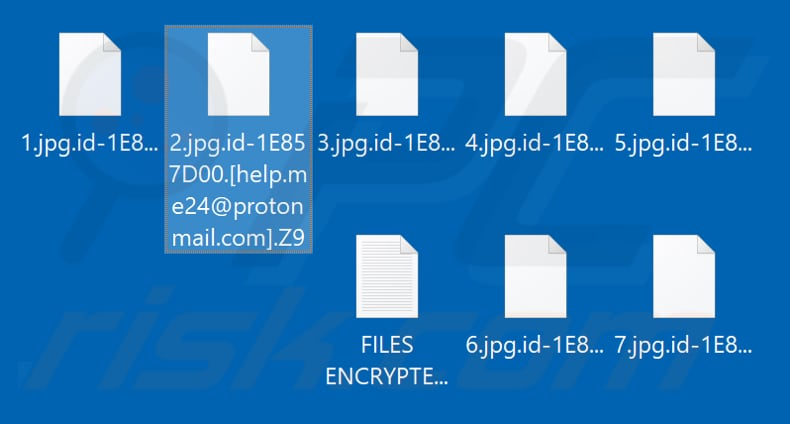 Files encrypted by Z9 ransomware (.Z9 extension)