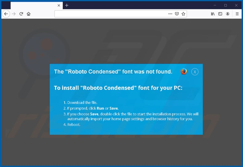 zloader malware scam page encouraging to download a font on mozilla second page