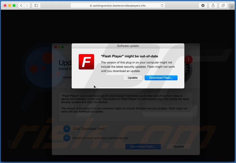 bestevervideoplayers[.]info scam second pop-up