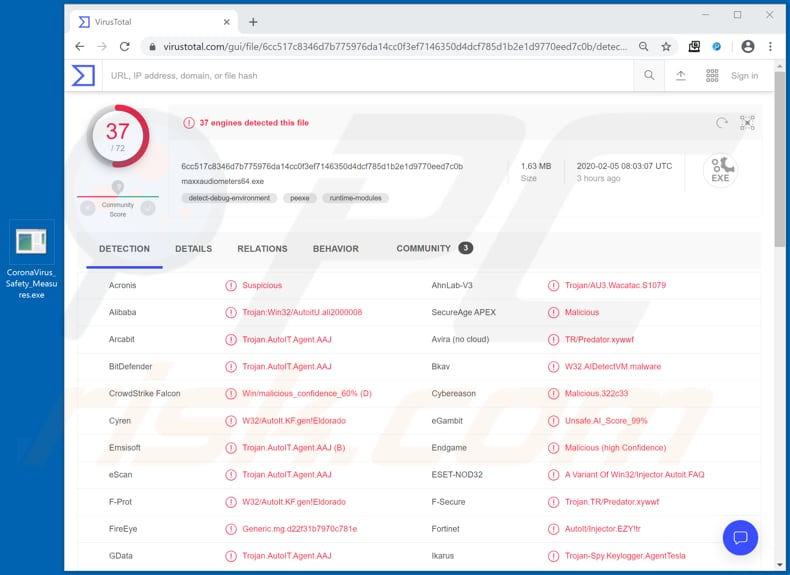 file in a coronavirus spam campaign detected as a threat in virustotal