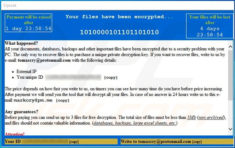 Updated CryLock ransomware pop-up window