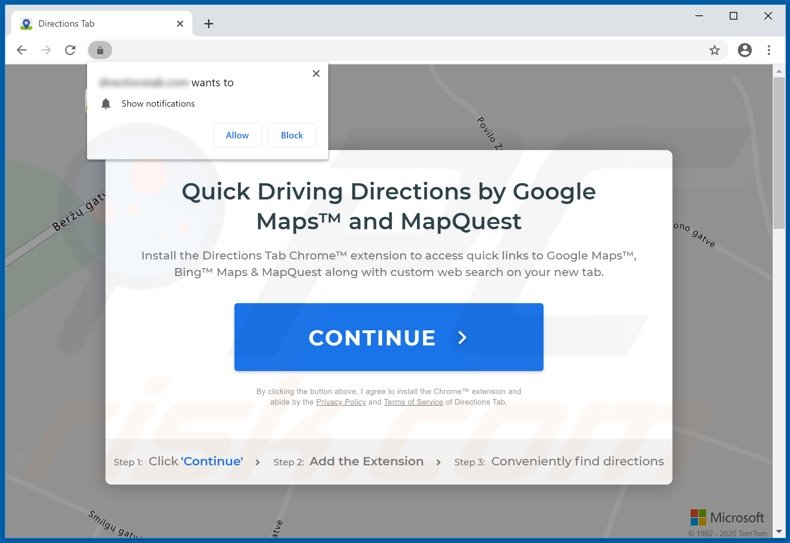 Directions Tab browser hijacker Chrome promoter