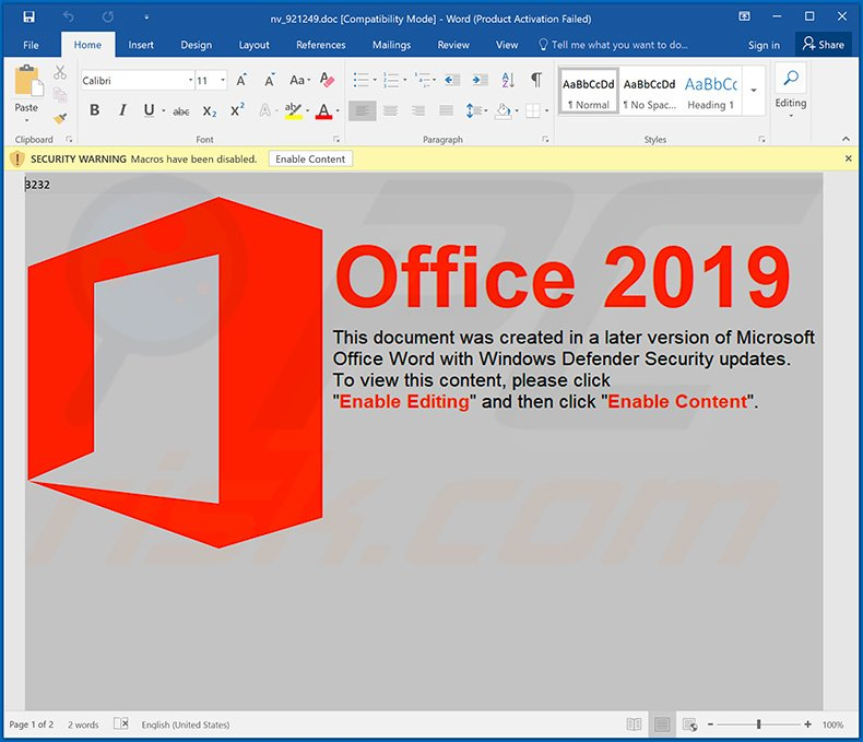 Malicious MS Word document used to spread Dridex malware - February 21, 2020
