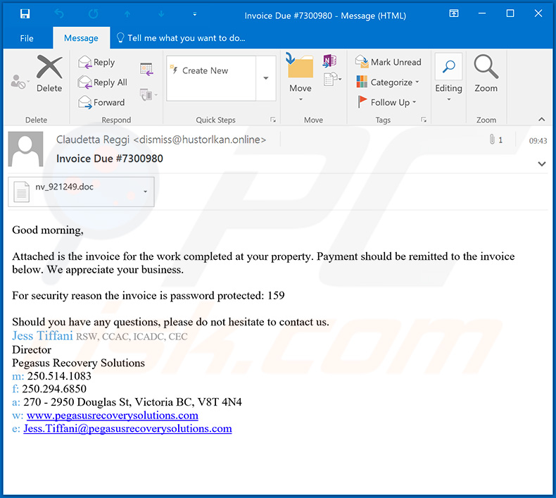 Spam email used to spread Dridex malware - February 21, 2020