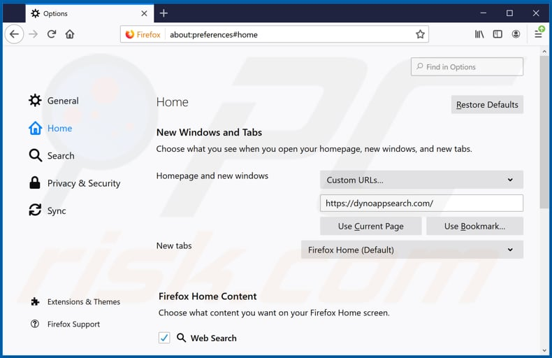Removing dynoappsearch.com from Mozilla Firefox homepage