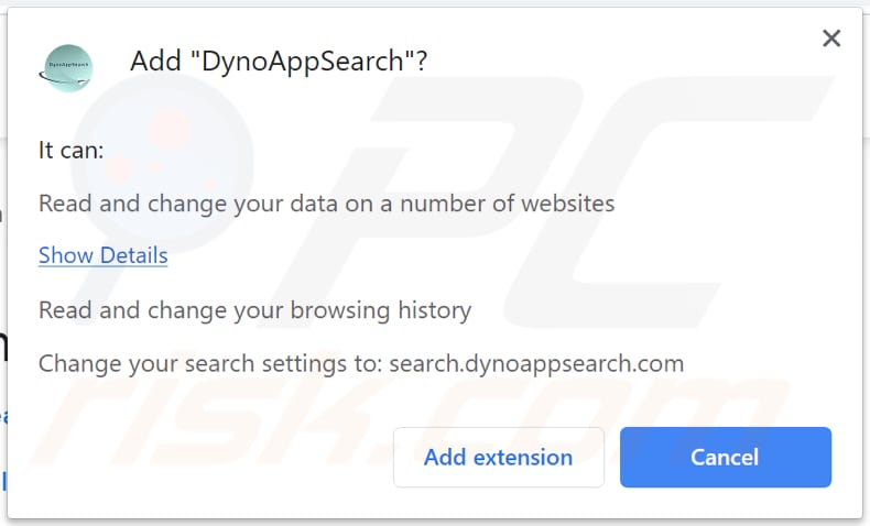 dynoappsearch browser hijacker asks for a permission to modify and read data