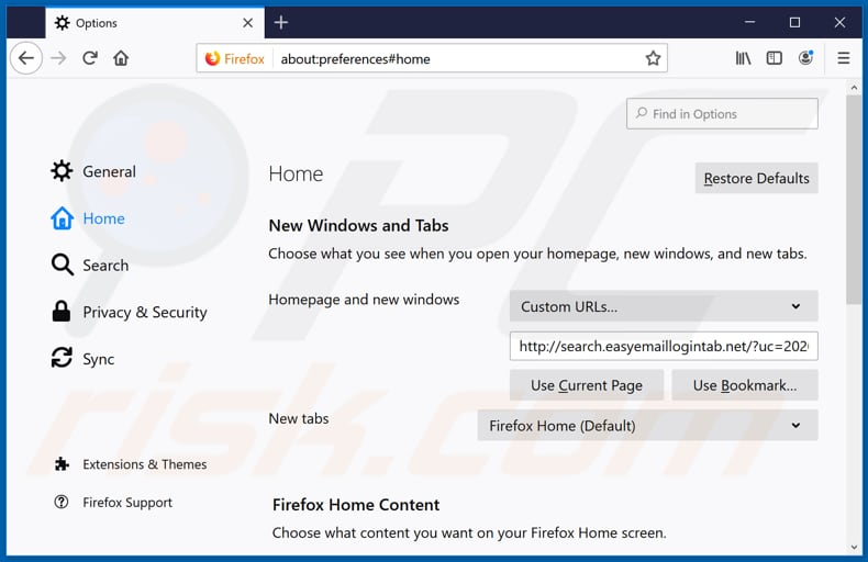 Removing search.easyemaillogintab.net from Mozilla Firefox homepage
