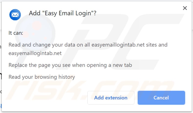 easy email login browser hijacker asks for a permission to access and modify data