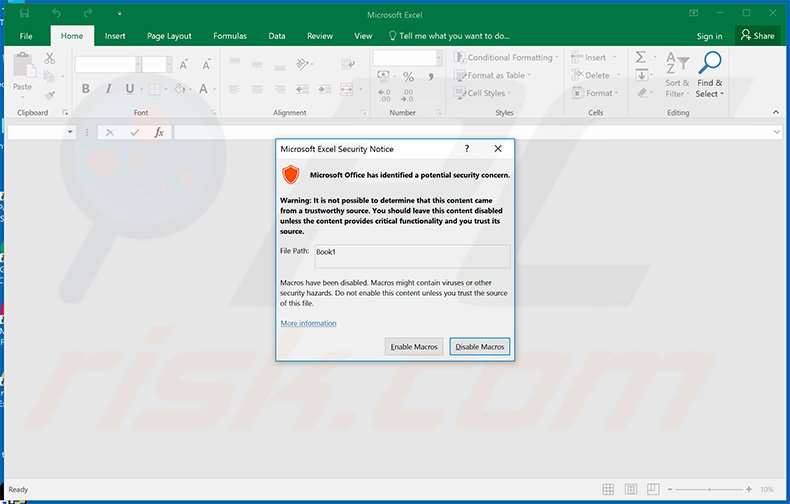 Excel window displayed once the malicious eFax spam campaign attachment is opened