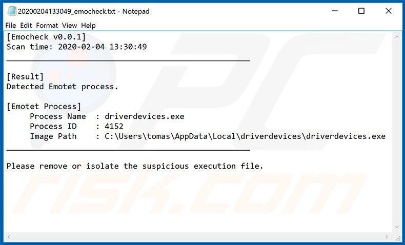 Log file created by the EmoCheck Emotet detection tool