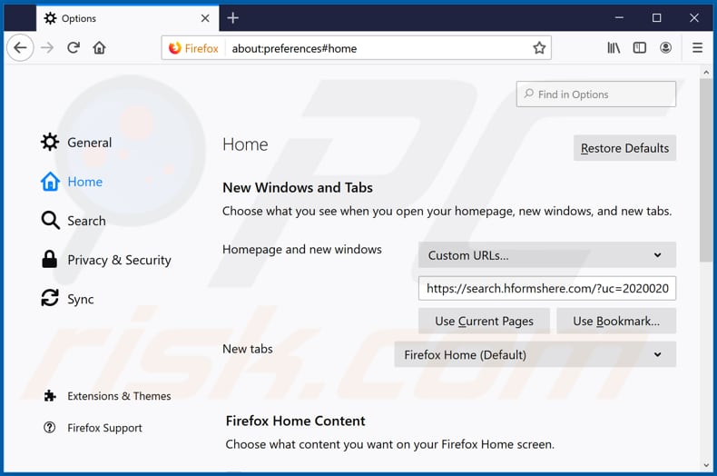 Removing search.hformshere.com from Mozilla Firefox homepage