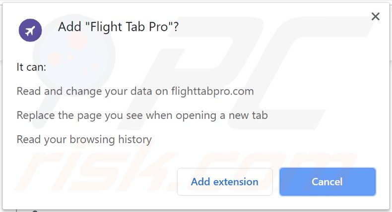 Flight Tab Pro browser hijacker asking for permissions (Chrome)