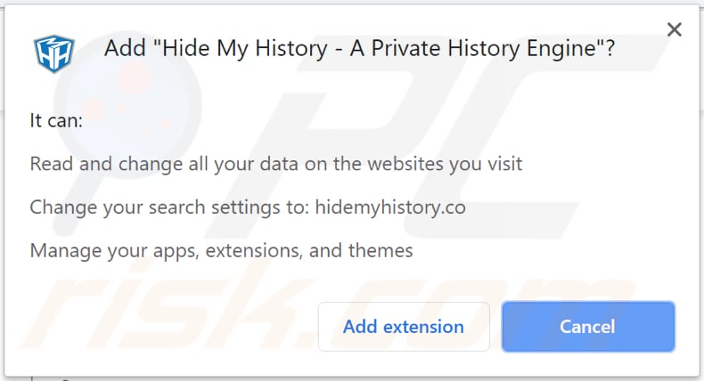 hide my history browser hijacker asks for a permission to access and modify data
