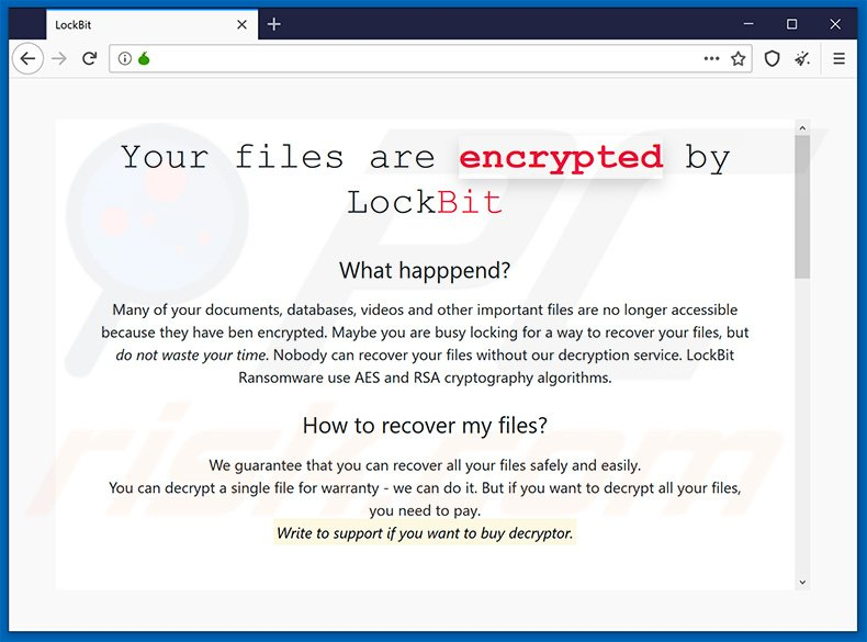 Updated LockBit ransomware Tor website