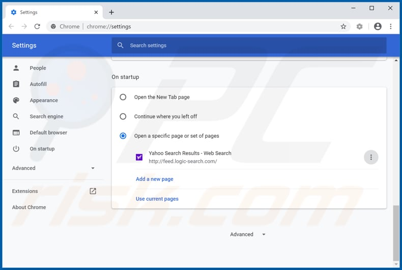 Removing feed.logic-search.com from Google Chrome homepage