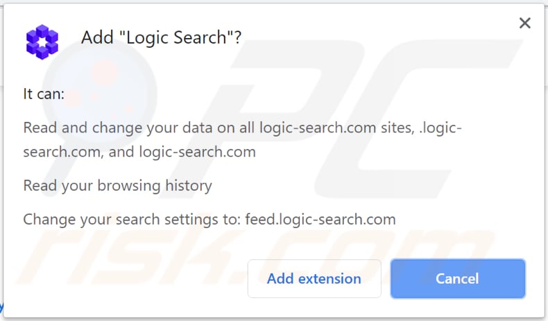logic search browser hijacker asks for a permission to read and change data