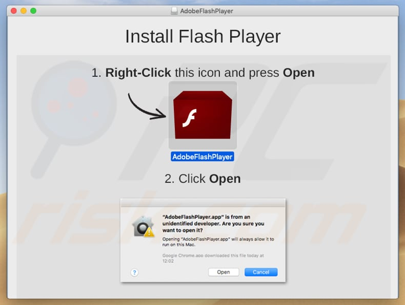 fake Adobe Flash Player installer