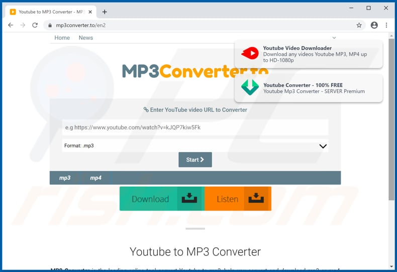 mp3converter[.]to pop-up redirects