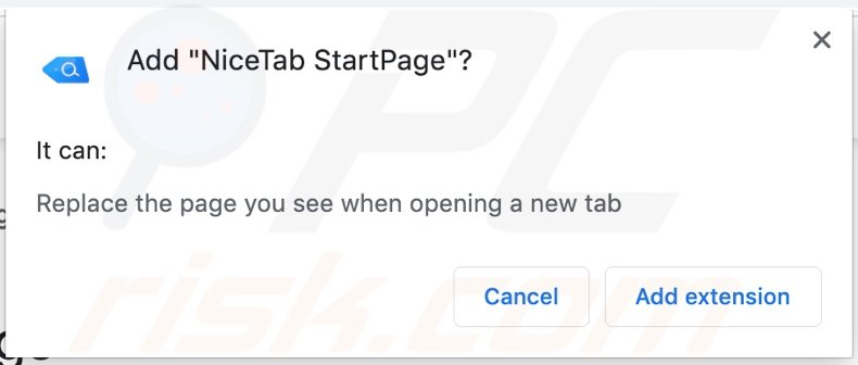 NiceTab StartPage browser hijacker asking for permissions