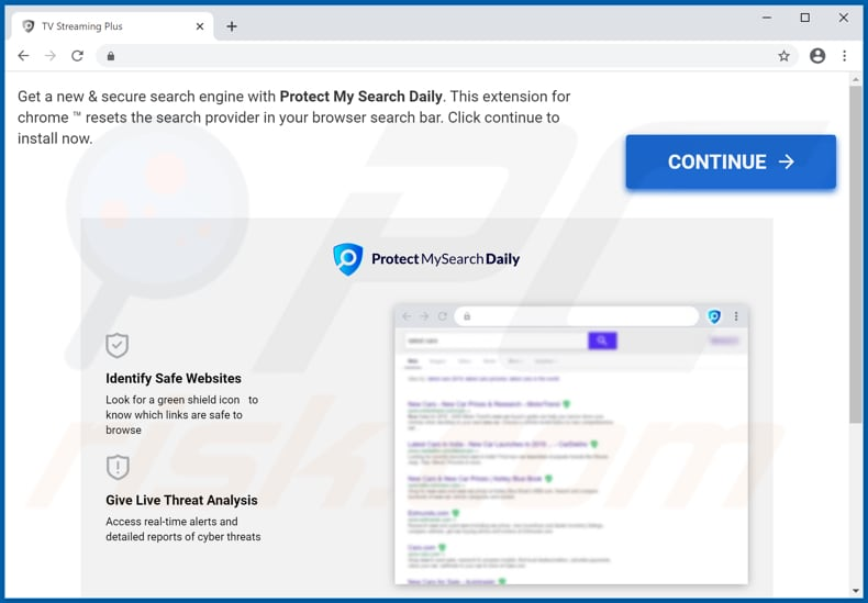 Website used to promote Protect My Search Daily browser hijacker