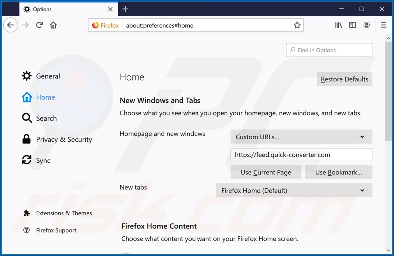 Removing feed.quick-converter.com from Mozilla Firefox homepage