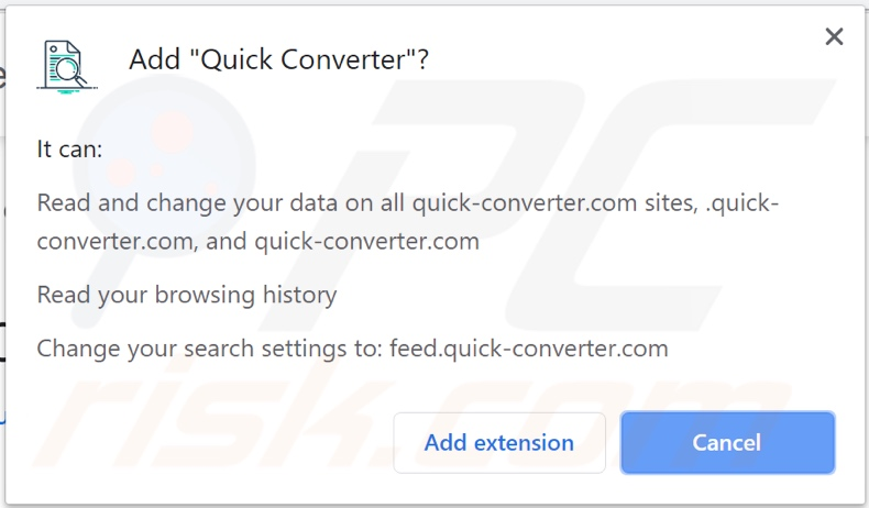 Quick Converter browser hijacker asking for permissions