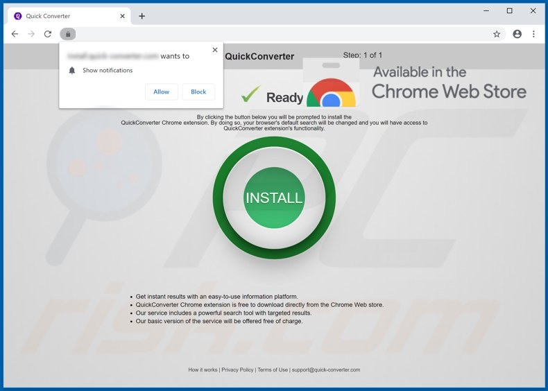 Anither website used to promote Quick Converter browser hijacker