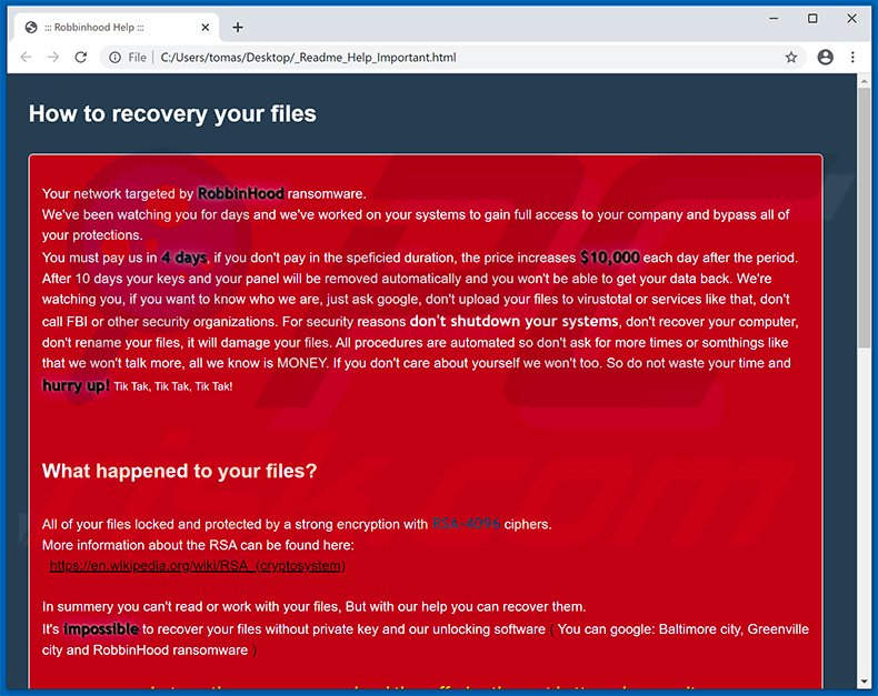 Ransom note dropped by the updated RobbinHood ransomware