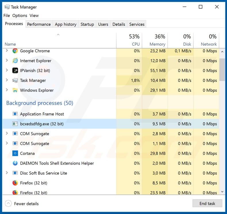 ShadowTechRAT bcxedsdfdg.exe process in Task Manager