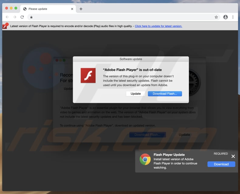deceptive page promoting fake adobe flash player installer
