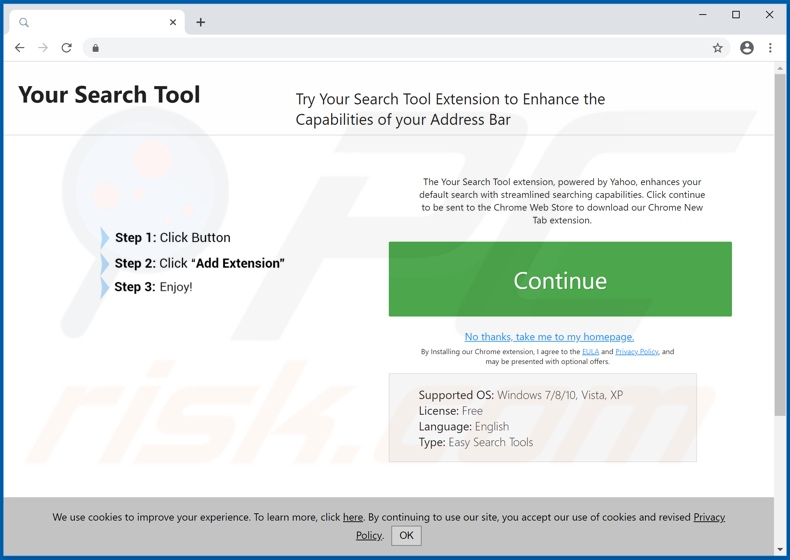 Website used to promote Your Search Tool browser hijacker