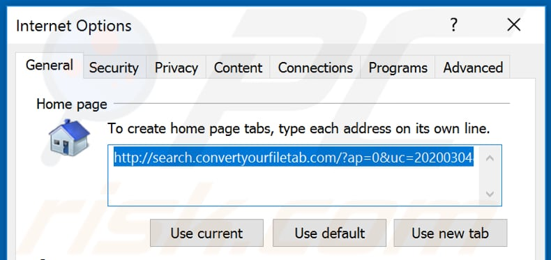 Removing search.convertyourfiletab.com from Internet Explorer homepage