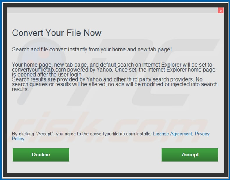 Official Convert Your File Now browser hijacker installation setup