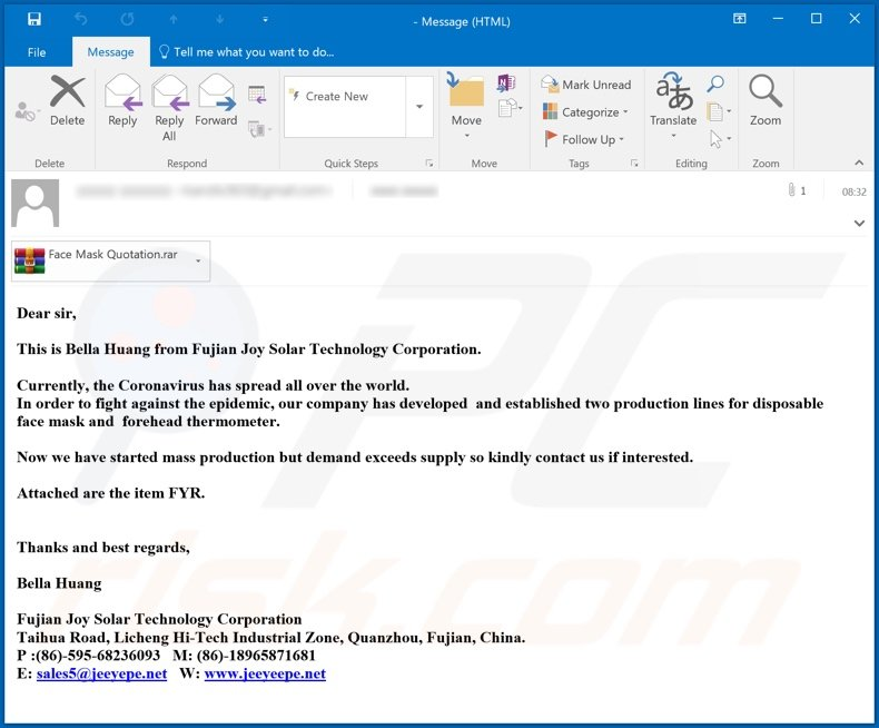 Coronavirus Face Mask Email Virus malware-spreading email spam campaign