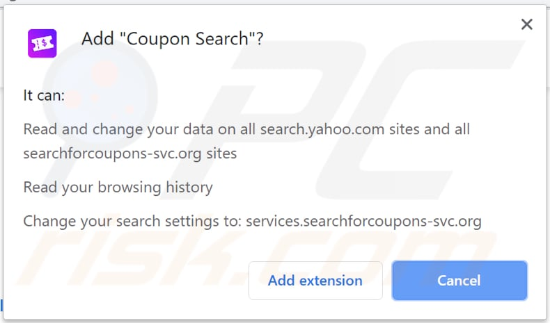 coupon search browser hijacker asks for a permission to be installed on chrome