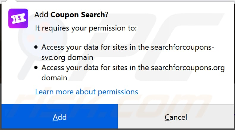 coupon search browser hijacker asks for a permission to be installed on firefox