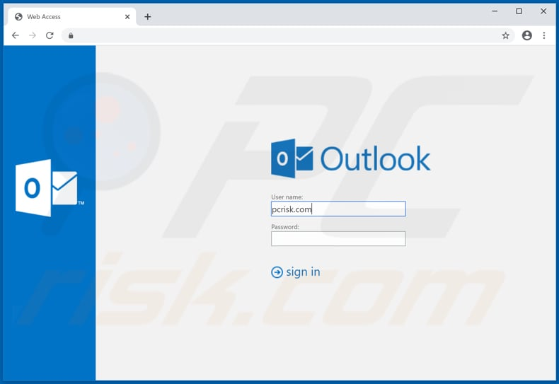 fake outlook login website