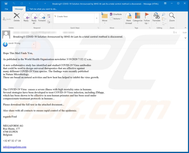 COVID-19 Solution Announced by WHO malware-spreading email spam campaign