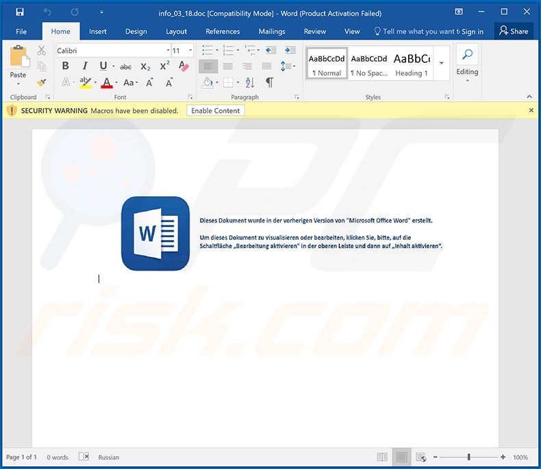 Gozi (Ursnif) trojan-injecting MS Word document