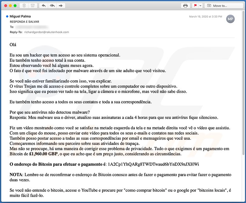 Portuguese variant of Hacker Who Has Access To Your Operating System email scam