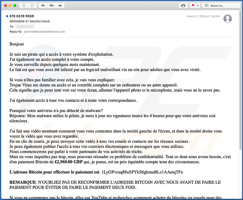 French variant of Hacker Who Has Access To Your Operating System email scam