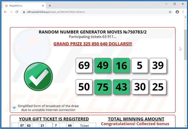 International Official Lottery scam drawn numbers